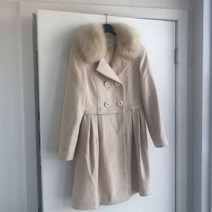 Beige Women's Removable Fur Collar Coat, S